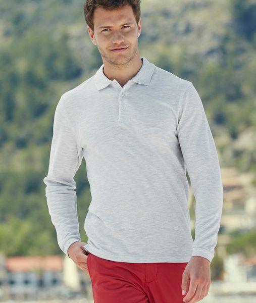 Polo-Shirt mit Textildruck - PREMIUM LONG SLEEVE POLO - 63-310-0 - Fruit of the Loom