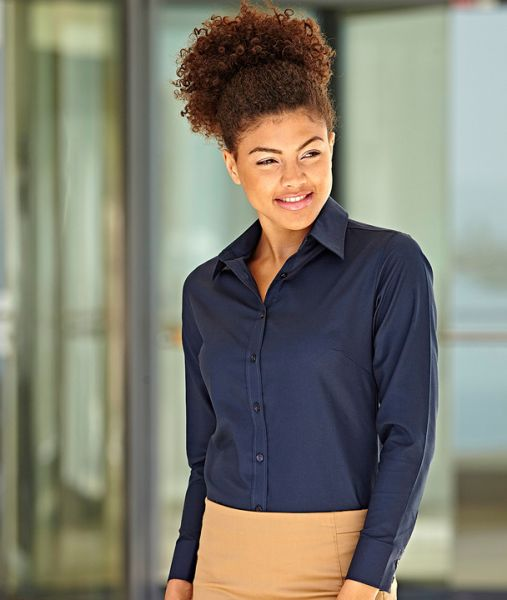 Businesshemd mit Textildruck - LADY-FIT LONG SLEEVE OXFORD SHIRT - 65-002-0 - Fruit of the Loom