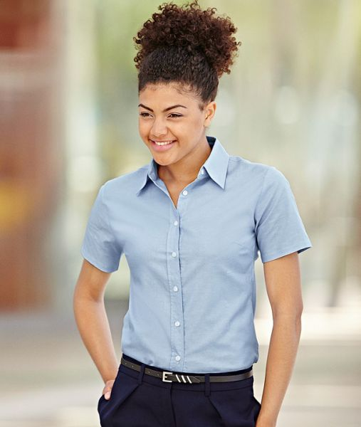 Businesshemd mit Textildruck - LADY-FIT SHORT SLEEVE OXFORD SHIRT - 65-000-0 - Fruit of the Loom