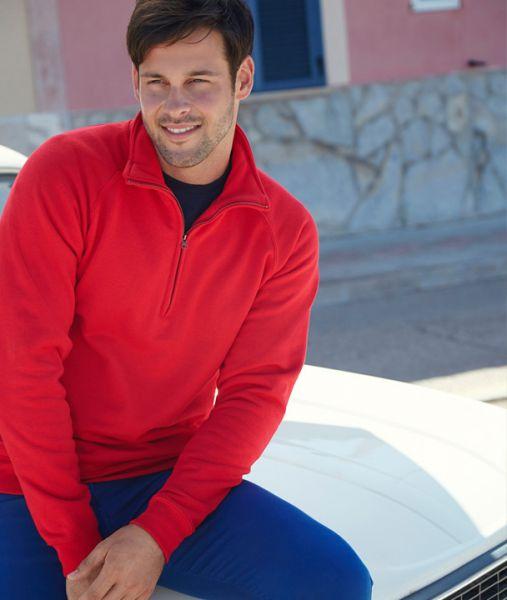 Sweatshirt mit Textildruck - PREMIUM ZIP NECK SWEAT - 62-032-0 - Fruit of the Loom